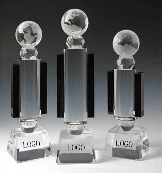 Optical crystal world globe award