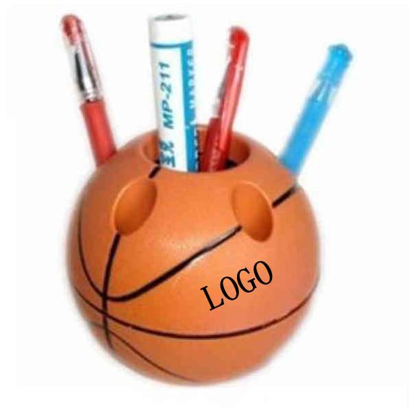 Basketball shaped brush pot