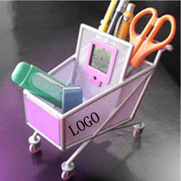 Shopping cart pen holder with clock