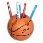 Basketball shaped brush pot