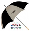 Golf umbrella with metal shaft and wood handle