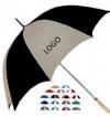Golf umbrella with metal shaft and wood handle