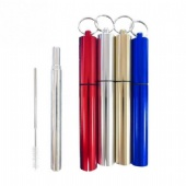 Stainless steel telescopic straw with case